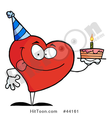 Clipart Illustration Of A Red Heart Birthday Character Wearing A Hat