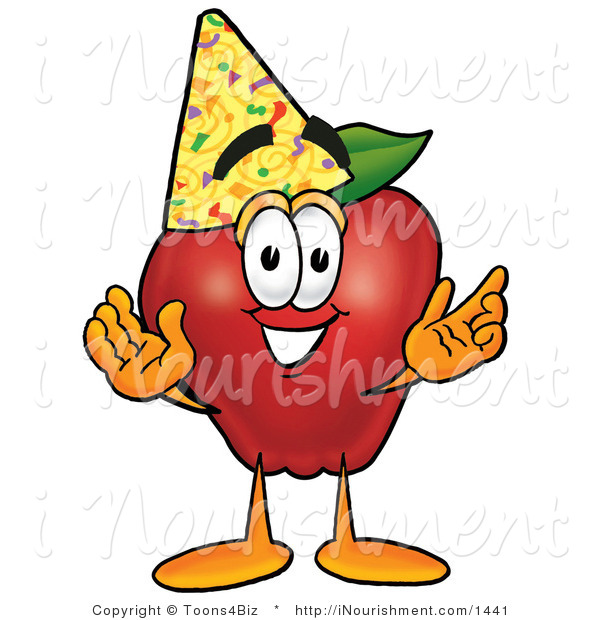 Clipart Of A Smiling Red Apple Character Mascot Wearing A Birthday