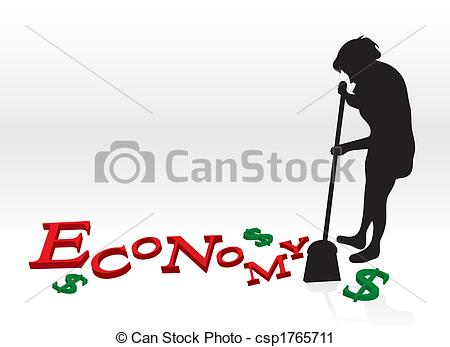 Clipart Of Cleaning Up The Economy   A Woman Cleaning Up The Bad