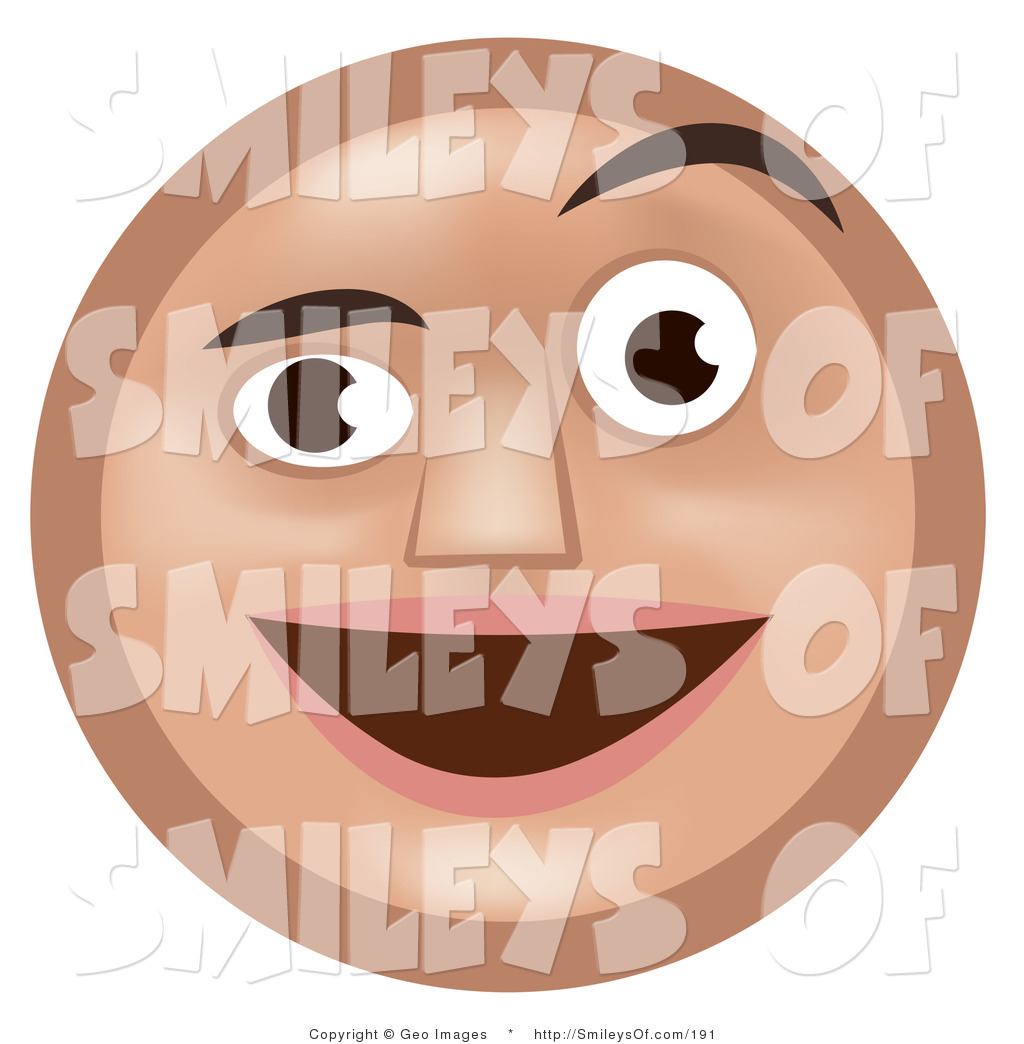 Larger Preview  Vector Of A Pleasantly Surprised Tan Smiley Face Man