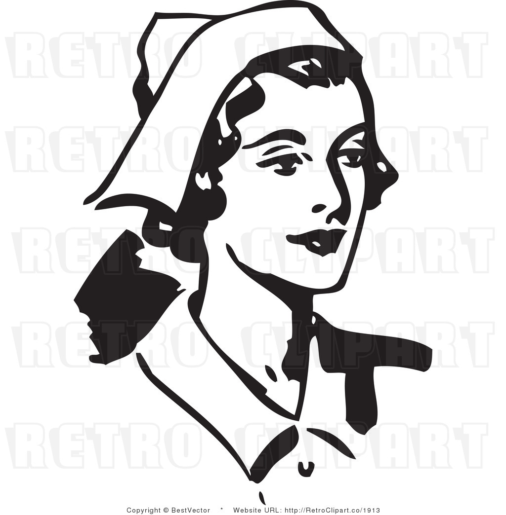 Royalty Free Black And White Retro Vector Clip Art Of A Happy Nurse By