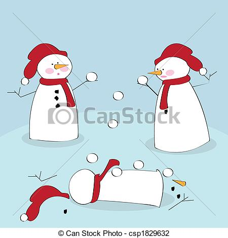 Snowman Snowball Fight Clipart Snowmen Fighting   Vector