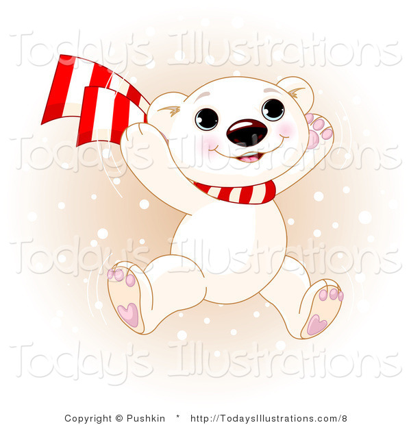 Vector Clipart Of A Winter Polar Bear Cub Jumping By Pushkin    8