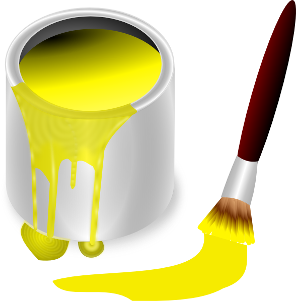 Yellow Paint With Paint Brush Clip Art At Clker Com   Vector Clip Art