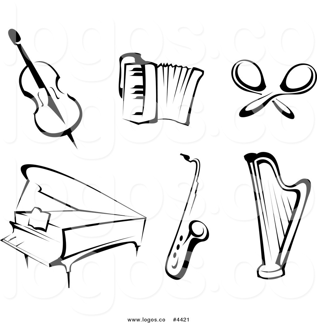 music instruments clipart black and white - photo #12