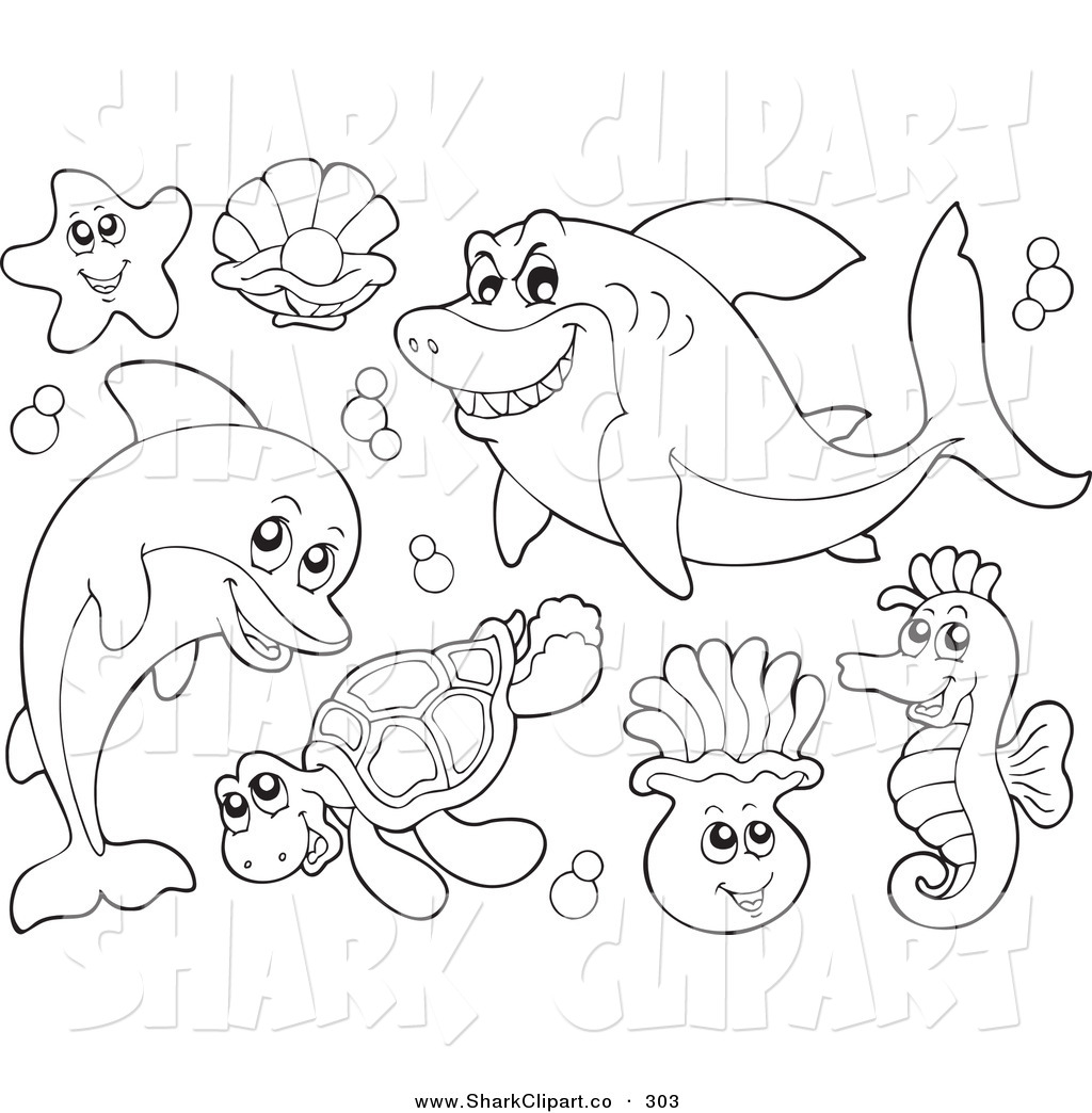 Clip Art Of A Digital Collage Of Coloring Page Outlines Of Sea