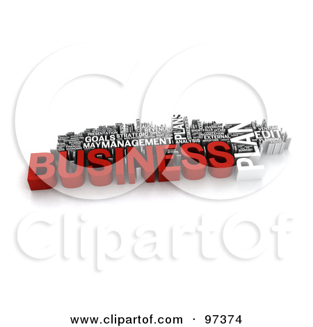 Clipart Illustration Of A 3d Red And White Business Plan Word Collage