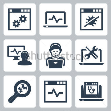 Computer Help Line Vector Icons Set Stock Vector   Clipart Me