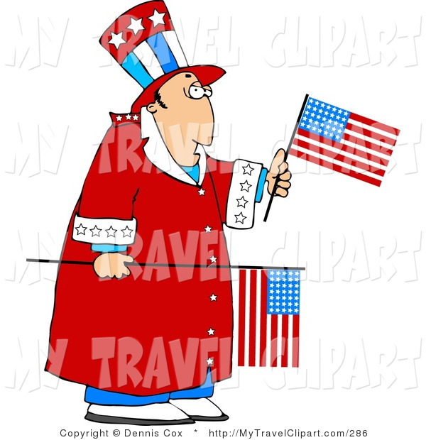 Funny Clipart Of An Uncle Sam Guy Holding A Usa Birthday Cake A