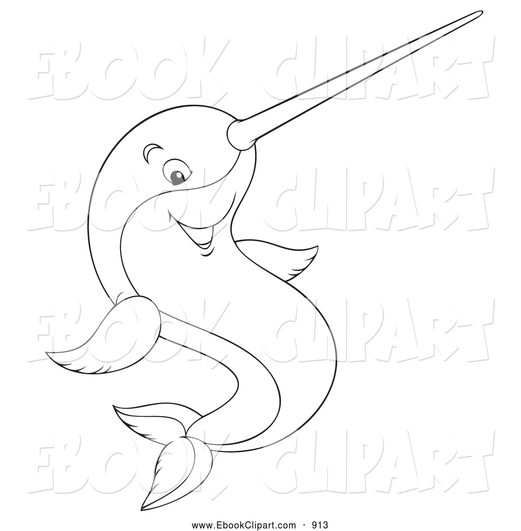 Larger Preview  Vector Clip Art Of A Narwhal Fish With A Horn On Its