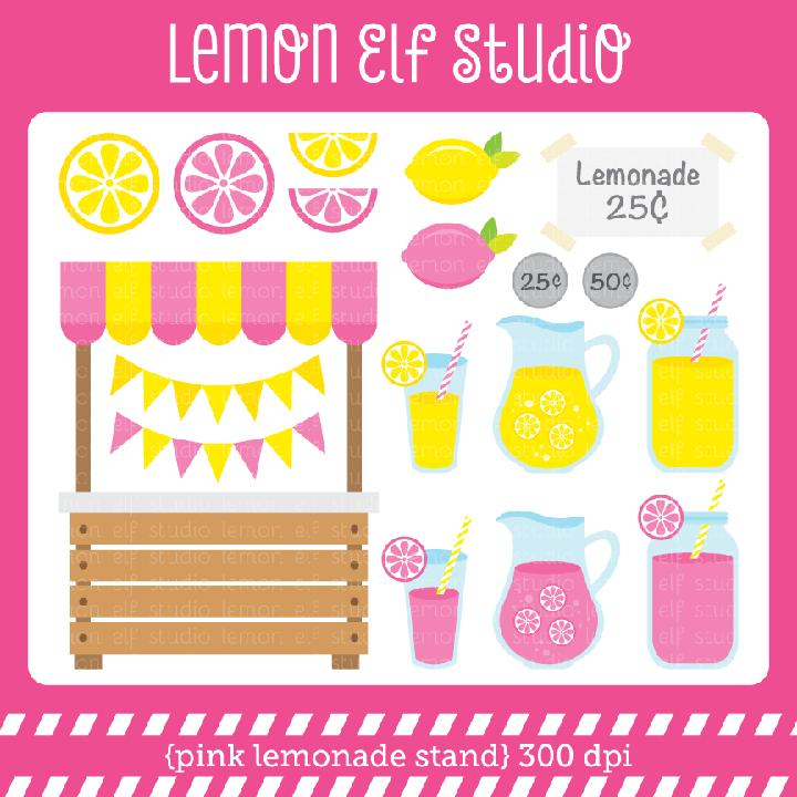 Pink Lemonade Stand Clipart Set Comes With Lemonade Stand Lemonade