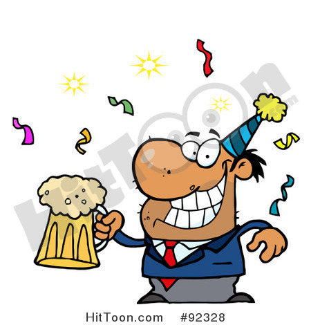 Royalty Free  Rf  Clipart Illustration Of A Drunk New Years Party Guy