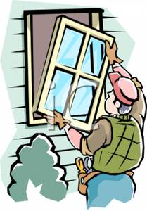 Carpenter Replacing A Window In A House   Royalty Free Clipart Picture