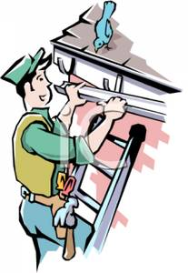 Cartoon Of A Homeowner Reparing Gutters   Royalty Free Clipart Picture