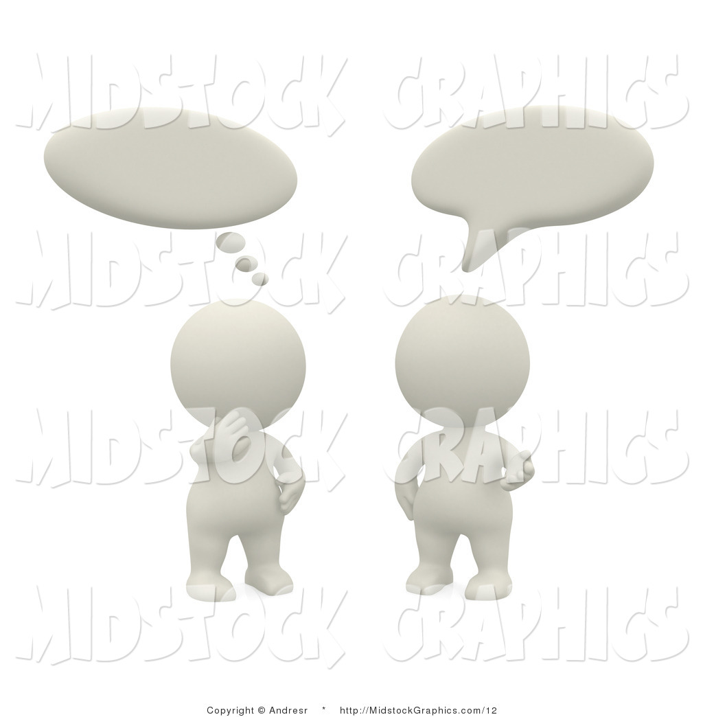 Clip Art Of Two 3d Teeny White People Talking And Thinking Together By