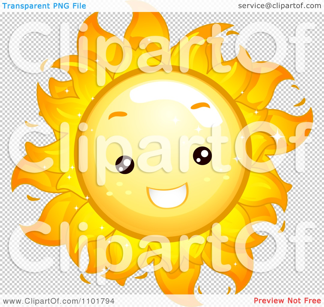 Clipart Happy Cute Summer Sun Smiling   Royalty Free Vector
