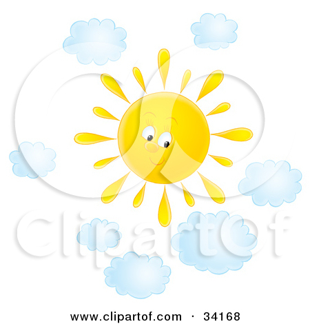 Clipart Illustration Of A Cute Summer Sun Shining In Cloudy Sky On