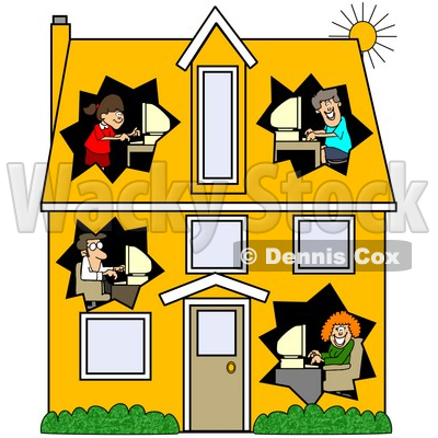 Clipart Illustration Of A Techno Family Working On Their Computers In
