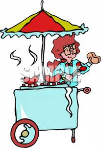 Clipart Image  A Woman At A Hot Dog Stand