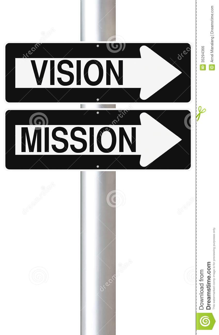 Conceptual One Way Street Signs On A Pole Indicating Vision And