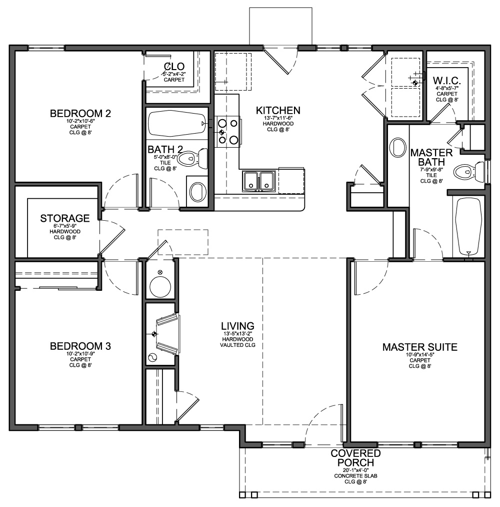 Floor Plan For Small 1200 Sf House With 3 Bedrooms And 2 Bathrooms