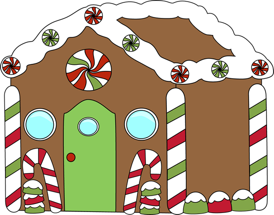 Gingerbread House Clip Art   Gingerbread House Decorated With Red And