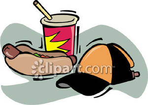 Hot Dog With A Drink And A Baseball Cap   Royalty Free Clipart Picture