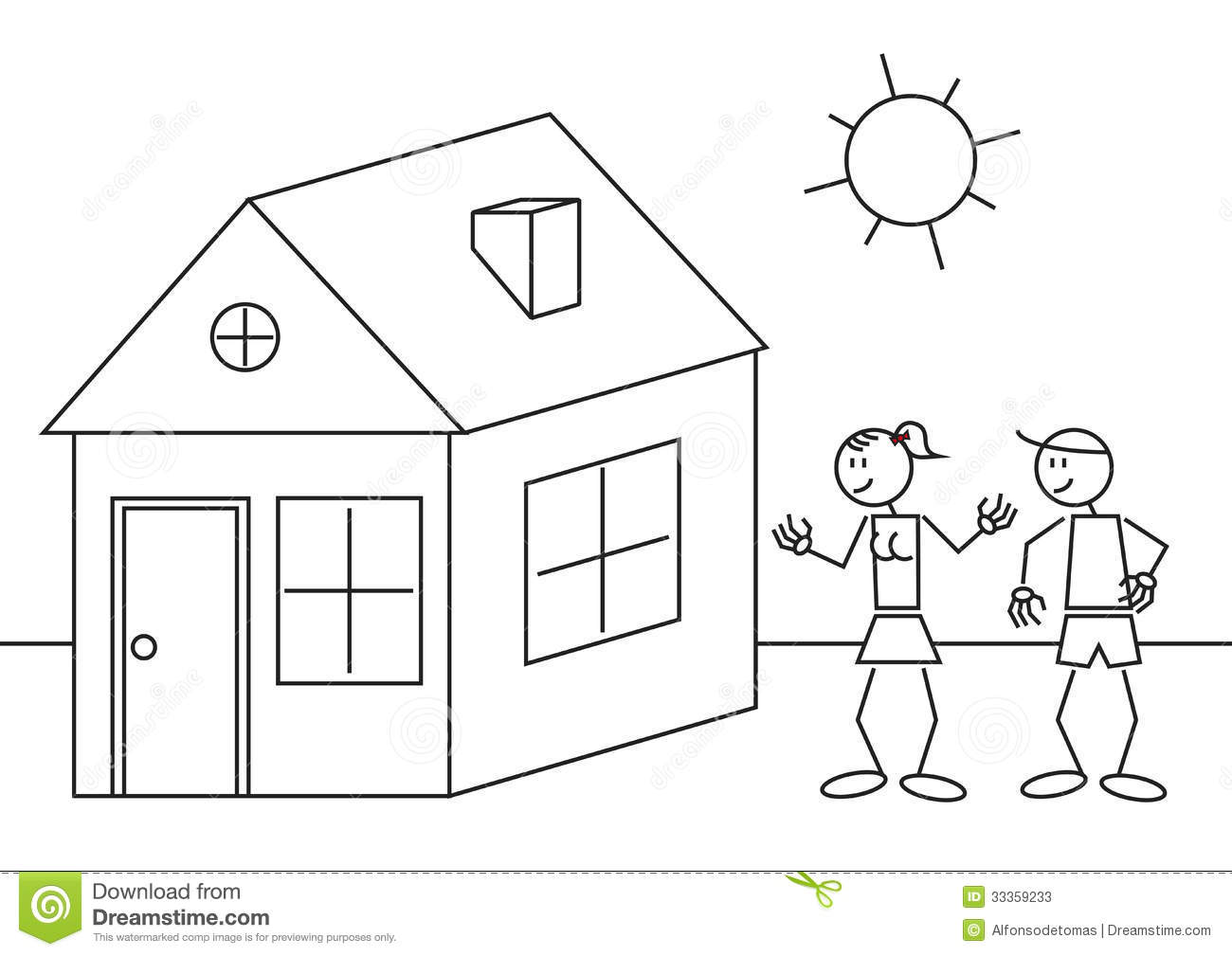 Illustration Of A Happy Couple With A House  Stick Figure