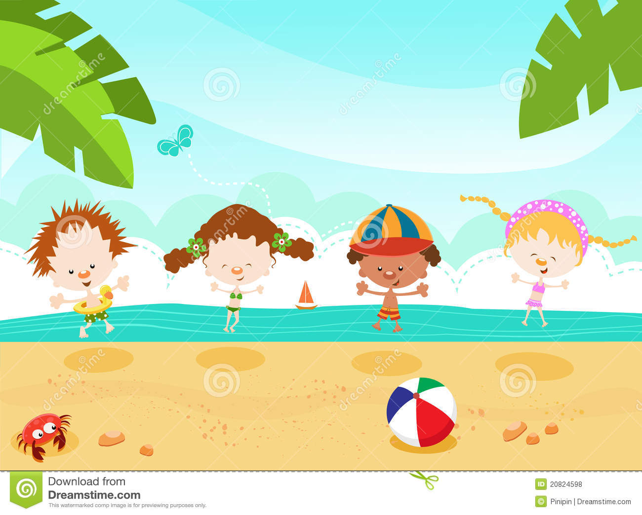 Kids Beach Party Clipart Kids At The Beach