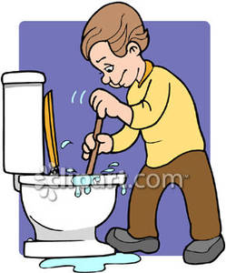 Kids Cleaning Bathroom Clipart A Kid Plunging A Toilet