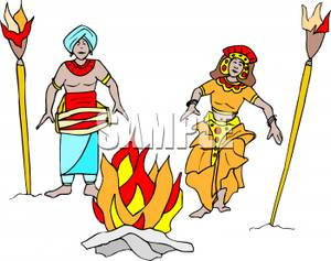 Of Two People Dancing Around A Fire   Royalty Free Clipart Picture