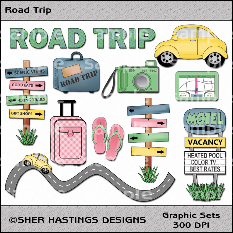 Road Trip Clipart And Graphic Set Travel By Shersdigitalclipart