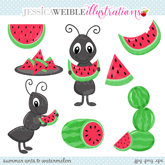 Summer Ants And Watermelon Cute Digital Clipart For Commercial Or