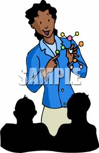 Teacher Teaching Students About Atoms   Royalty Free Clipart Picture