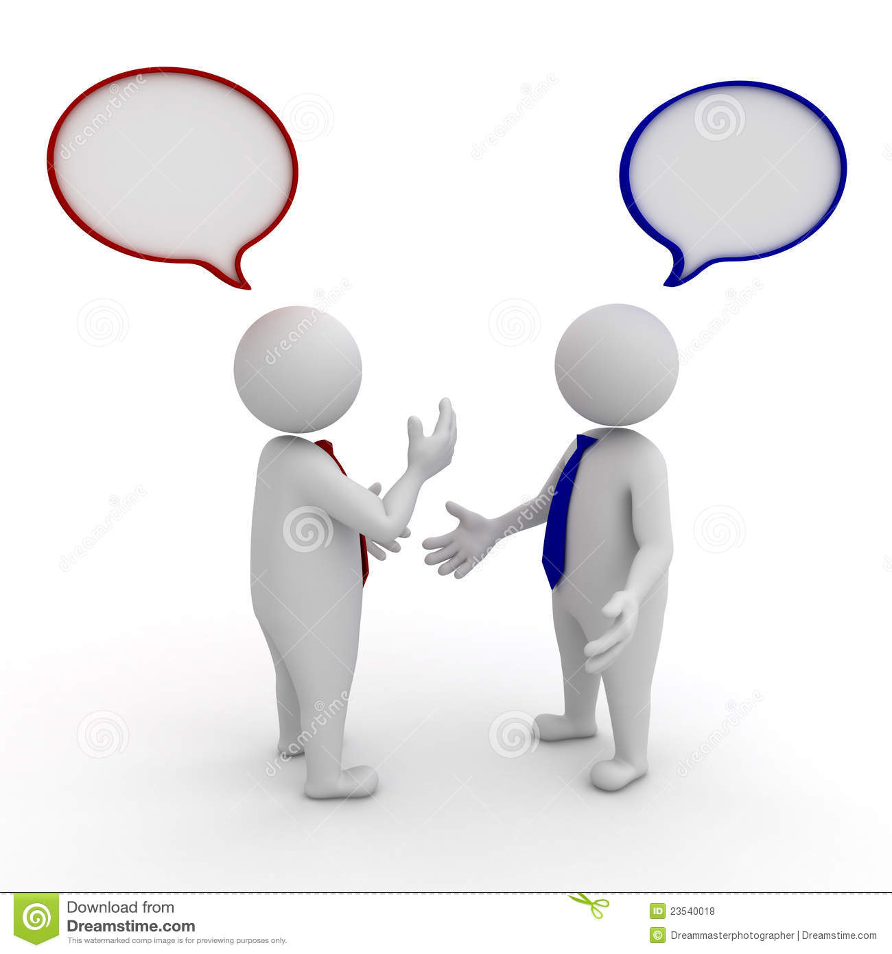 Two Businessmen Standing And Talking With Speech Bubbles On White