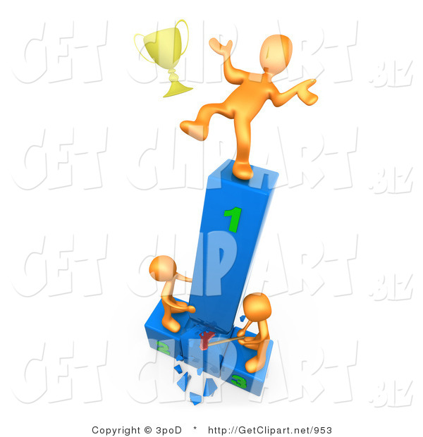 3d Clip Art Of A Successful Orange Athlete Slipping And Dropping His