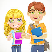 And Girl Teenagers Are Ready For The New School Year   Clipart Graphic