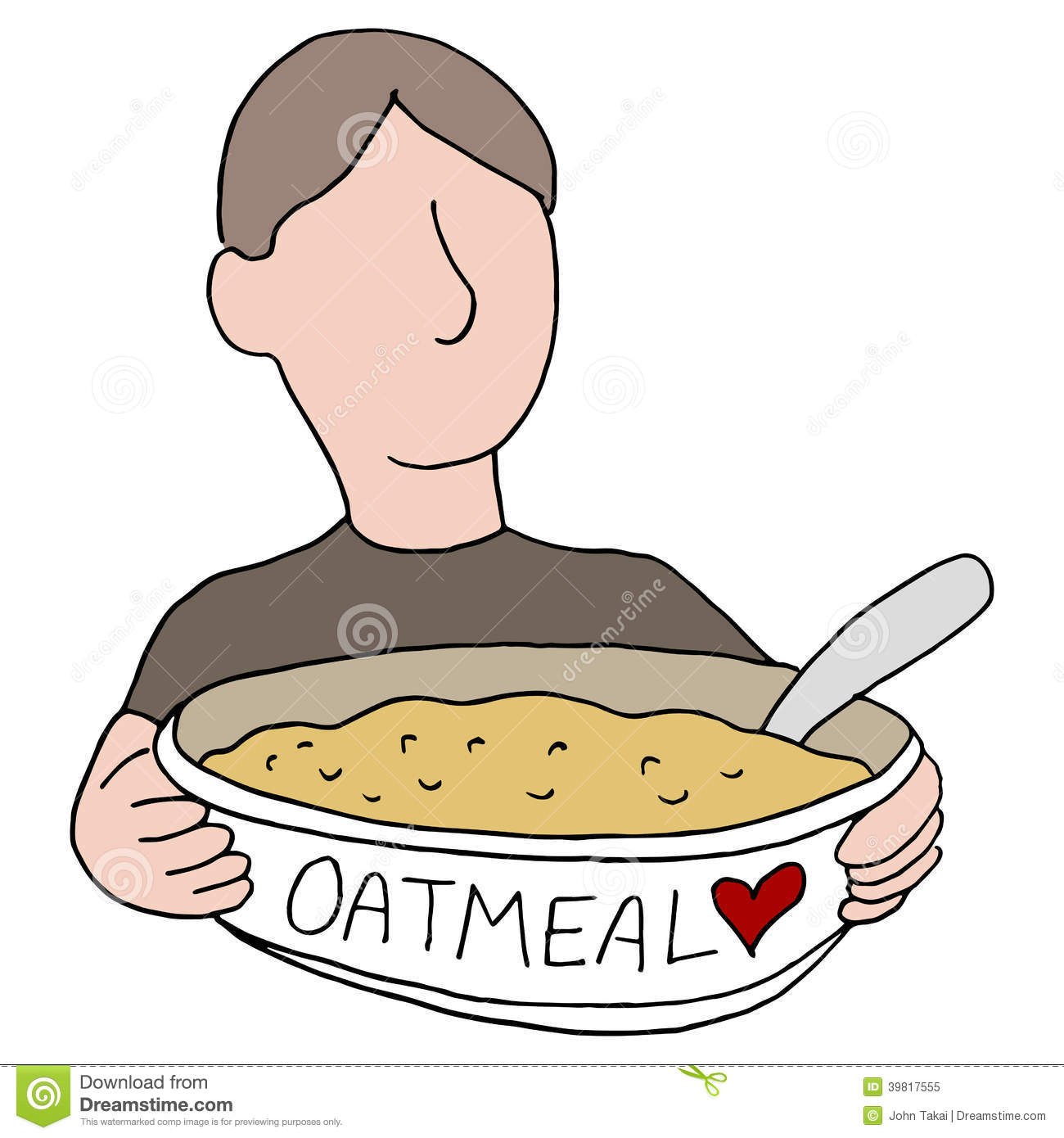 Bowl Of Oatmeal Clipart An Image Of A Man Eating Heart Healthy Oatmeal