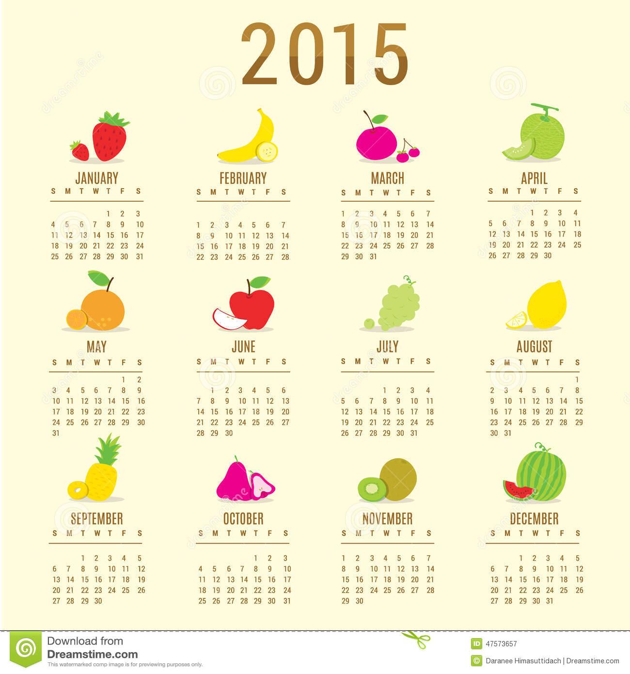Calendar 2015 Fruit Cute Cartoon Vector Stock Vector   Image  47573657