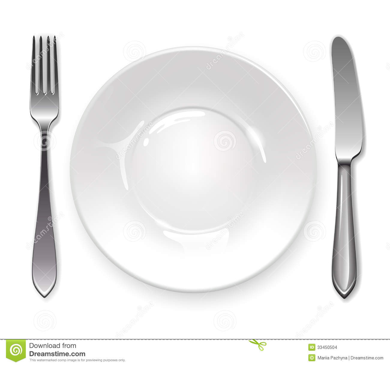 Clean Plate With Knife And Fork On White Background