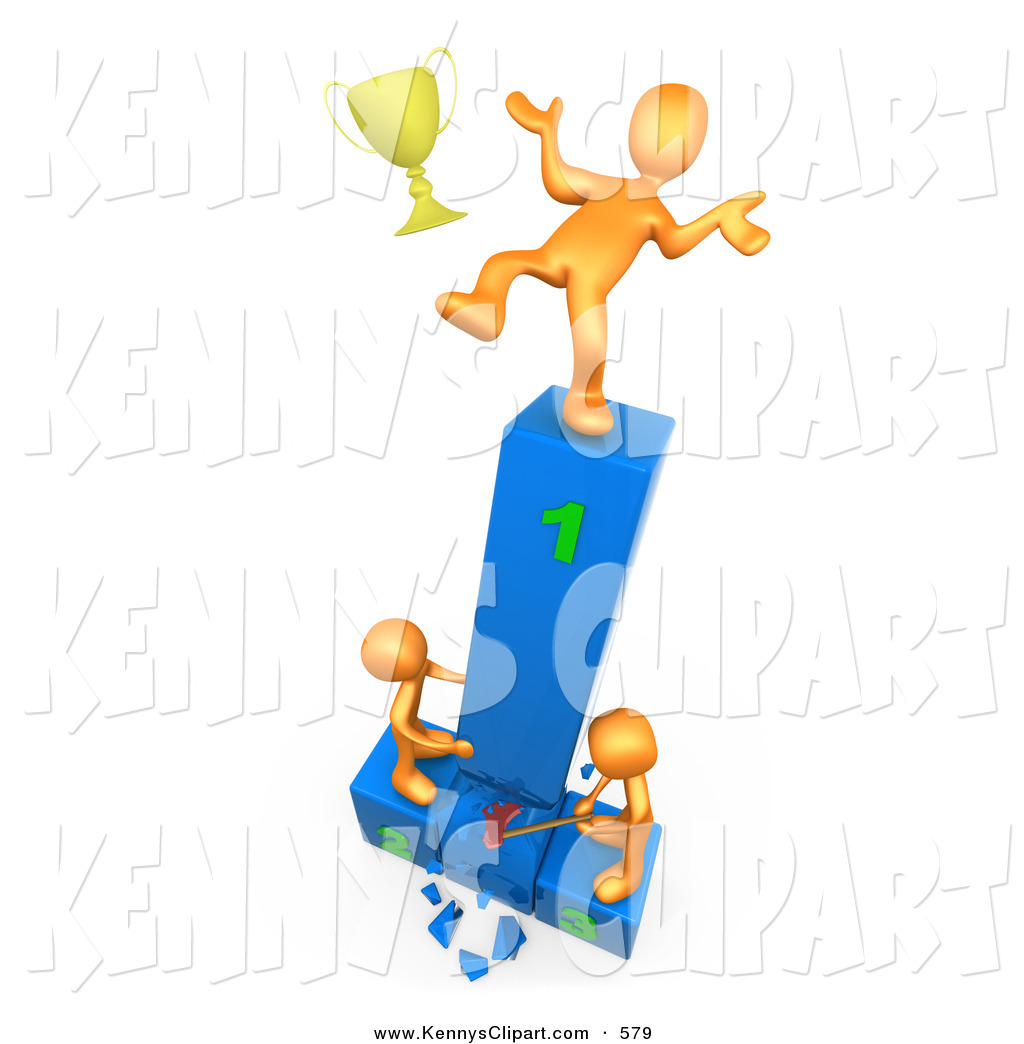 Clip Art Of A Successful Athlete Slipping And Dropping His Golden