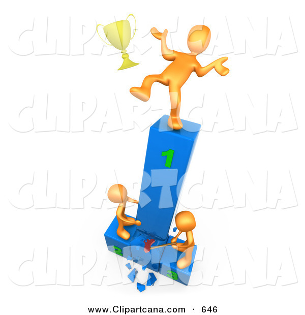 Clip Art Of A Successful Orange Athlete Person Slipping And Dropping