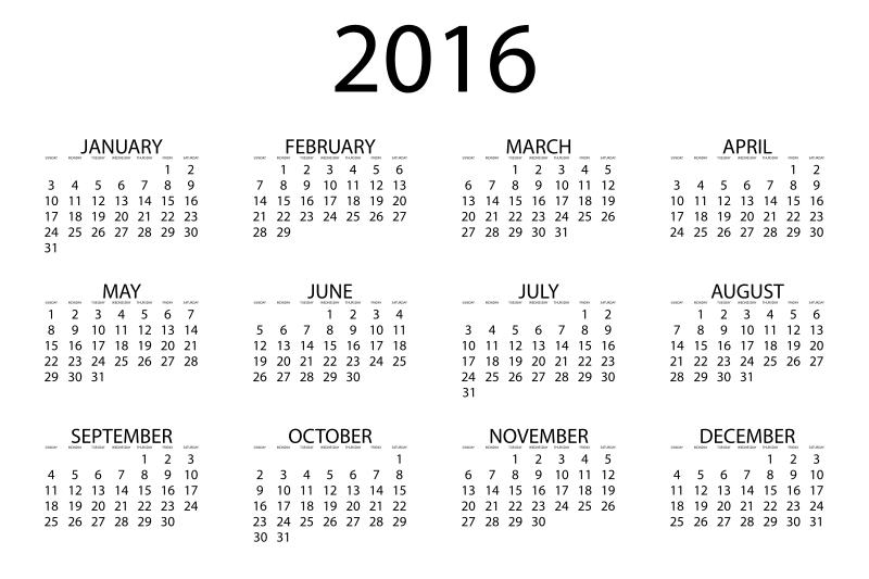 Clipart   2016 Calendar