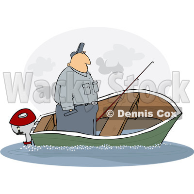 Clipart Illustration Of A Man Standing Up In A Sinking Fishing Boat