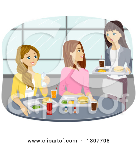 Clipart Of A Group Of Caucasian Teenage Girls Meeting For Lunch In A