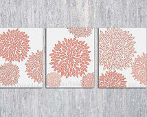Coral Bedroom Wall Art Printable C Oral Wall Art Flower Burst Coral
