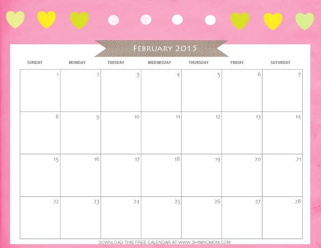 Designs You Ll Love  Free Printable February 2015 Calendar