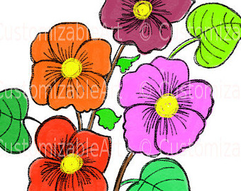 Flower Drawing Painting Watercolor Clipart Flower Digital Clipart
