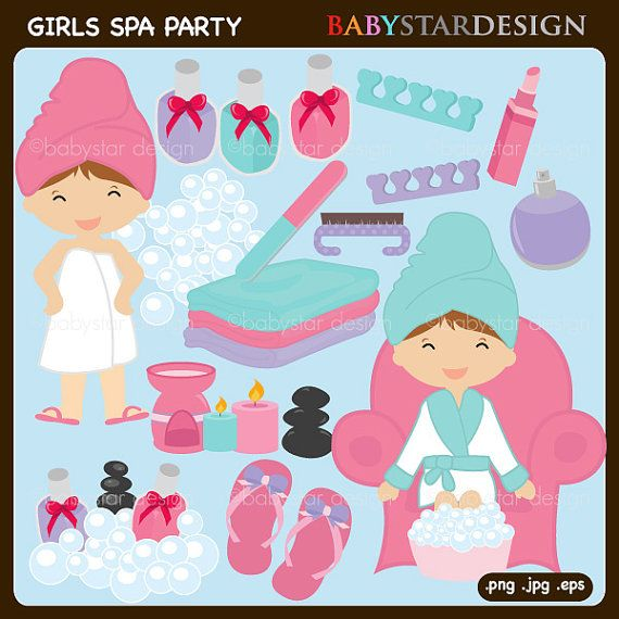 Girls Spa Party Clipart By Babystardesign On Etsy  6 95