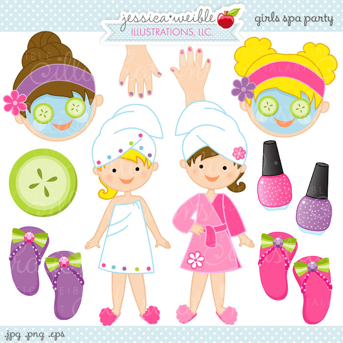 Girls Spa Party Cute Digital Clipart Commercial By Jwillustrations